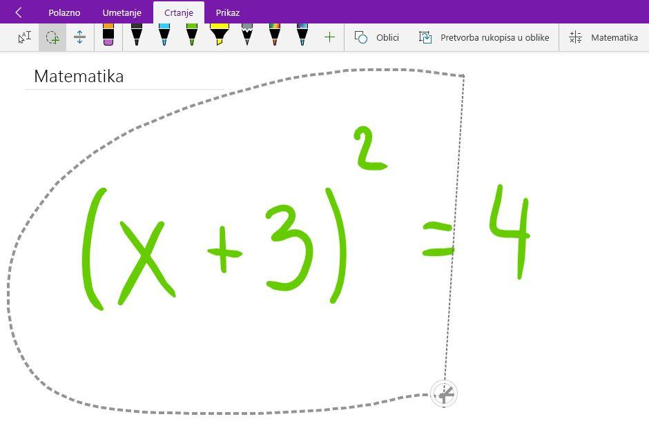 Odabir lasom rukom matematičke jednadžbe