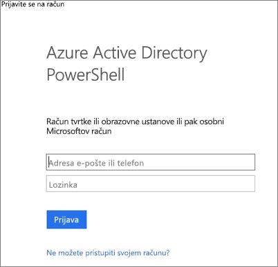 Unesite vjerodajnice za administratore servisa Azure Active Directory