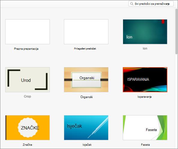 Standardni predlošci u programu PowerPoint