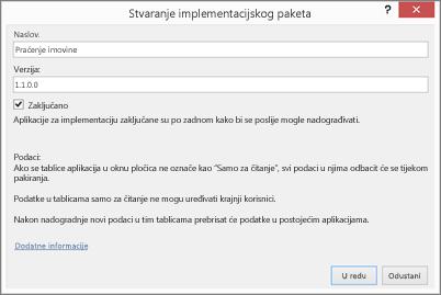 dijaloški okvir stvaranje paketa za implementaciju