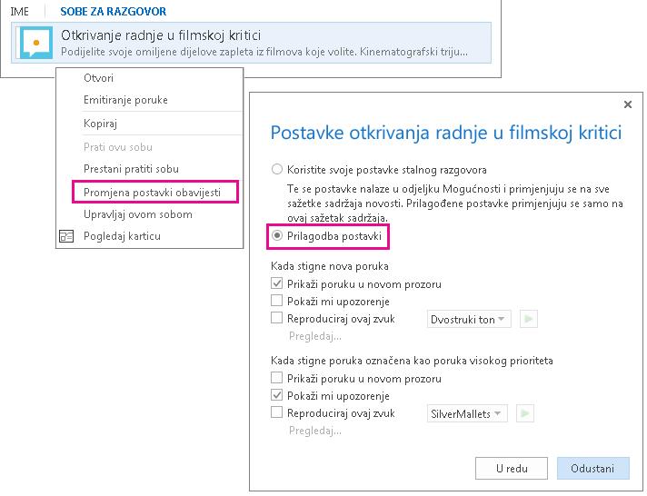 Snimka zaslona s odabirom na izborniku i prozorom za prilagodbu obavijesti