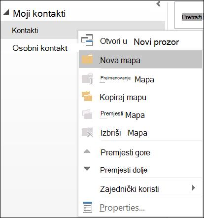Stvaranje nove mape kontakata.