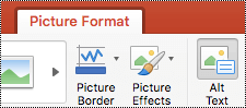Gumb Alternativni tekst na vrpci programa PowerPoint za Mac