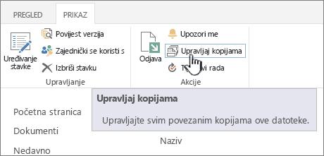 Upravljanje kopija na vrpci izvora