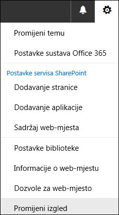 Snimka zaslona s prikazom mogućnosti izbornika Promjena izgleda sustava SharePoint.