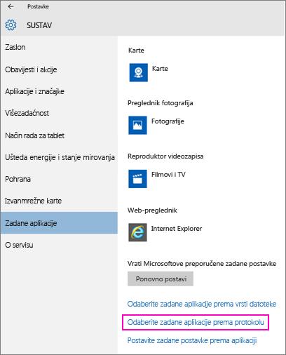 Snimka zaslona s postavkama za postavljanje zadanih postavki po aplikaciji u sustavu Windows 10.