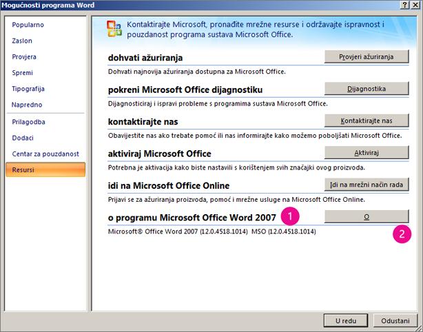 Prozor Resursi u odjeljku Mogućnosti programa Word u programu Word 2007