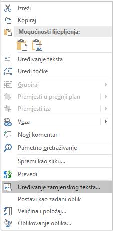 Excel Win32 uređivanje alternativni tekst izbornika za oblike