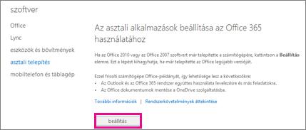 Az asztali alkalmazások beállítása az Office 365-tel való együttműködésre