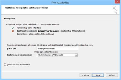 Új fiók hozzáadása párbeszédpanel nem konfigurálható fiókkal