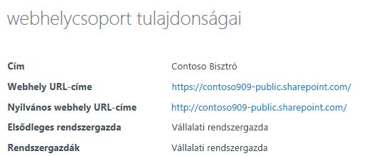 Nyilvános webhely webhelycsoport-tulajdonságai