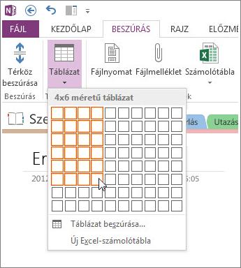 Táblázat beszúrása a OneNote-ba