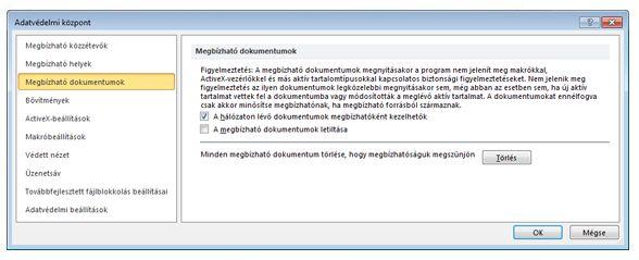 Az Adatvédelmi központ Megbízható dokumentumok területe