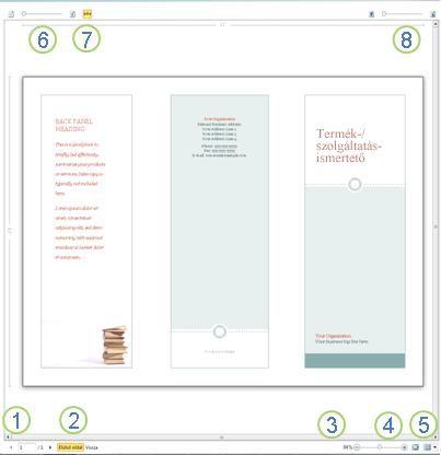 A nyomtatási kép a Publisher 2010 alkalmazásban