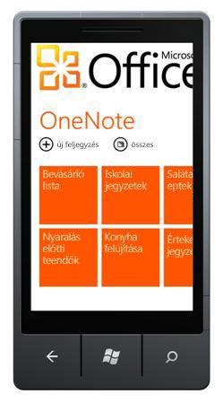 OneNote Mobile 2010 központ