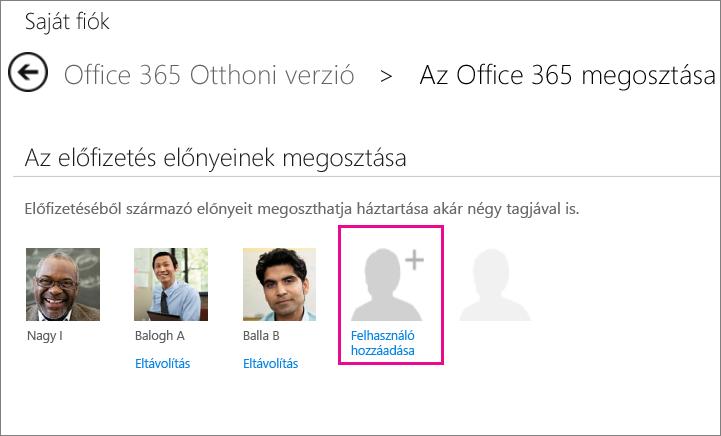 Fióklapján a Felhasználó hozzáadása elemre kattintva meghívhat valakit, akivel meg szeretné osztani az előfizetést.