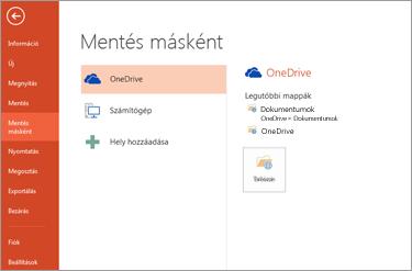 Mentés a OneDrive-ra