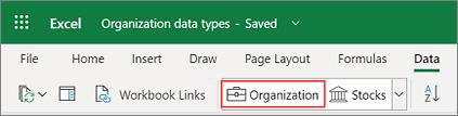 Excel Szervezeti adattípusok a Power BI
