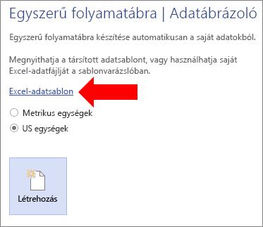 Az Excel-adatsablon hivatkozás kiválasztása