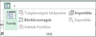 A gyorselérési eszköztáron kattintson az XML gombra