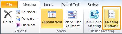 Az Értekezlet beállításai gomb az értekezlet-összehívás ablakában
