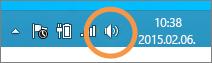 A tálcán látható Windows-hangszóróikon kiemelve