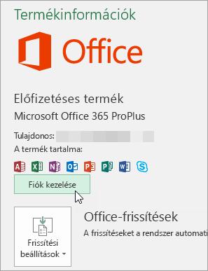 Képernyőkép a Fiók lap Fiók kezelése elemének választásáról egy asztali Office-appban