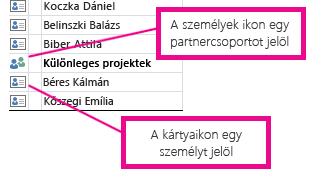 A személyek ikon partnercsoportokhoz, a névjegykártya ikon egyéni partnerekhez tartozik