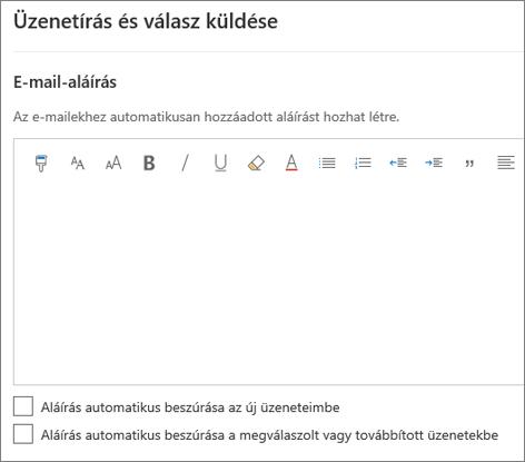 E-mail-aláírás létrehozása a Webes Outlookban