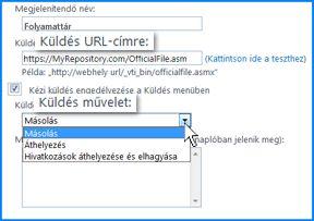 Képernyőfelvétel a SharePoint Online Felügyeleti központ Küldés kapcsolata oldalának Kapcsolat beállításai csoportjáról. Itt adhatja meg a Tartalomszervező célhelyének URL-címét.