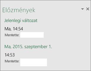 Az Előzmények ablaktábla a Windows Excel 2016-ban