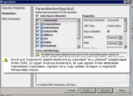 Az Összes művelet párbeszédpanel a SharePoint Designerben. Ez a lap figyelmeztetéseket jelenít meg a lista kulcstulajdonságainak beállításaival kapcsolatban.