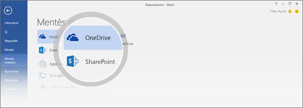 A dokumentum mentésére szolgáló OneDrive- és SharePoint-helyek kiemelten láthatók