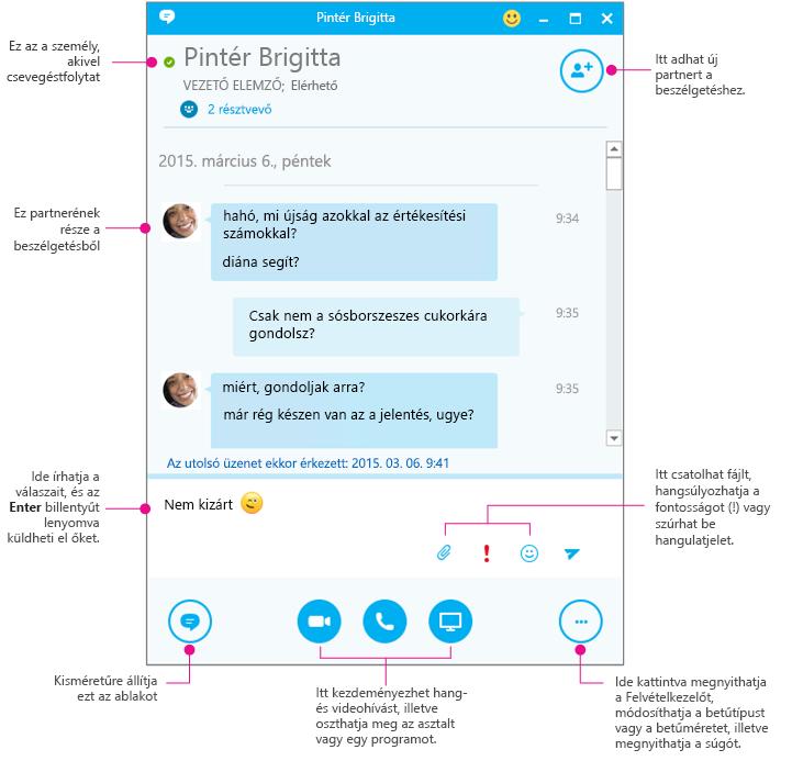 A Skype Vállalati verzió csevegőablaka az elemek leírásával