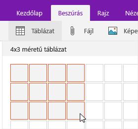 Táblázat beszúrása parancs a kijelölés rács megjelenítése