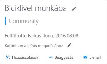 Képernyőkép a megosztási beállításokról egy videót tartalmazó lapon