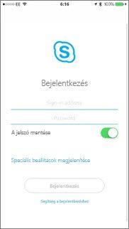 A Skype Vállalati verzió bejelentkezési képernyője iOS rendszerben