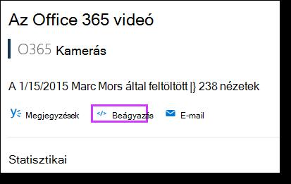 Az Office 365 videó beágyazási kódját
