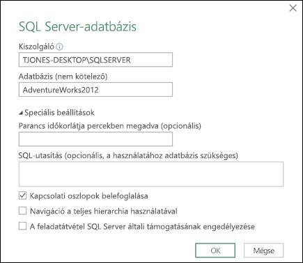 A Power Query SQL Server-adatbázis csatlakoztatására szolgáló párbeszédpanelje