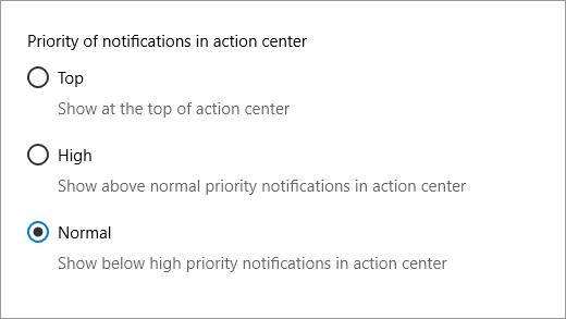 Értesítési prioritásra vonatkozó beállítások