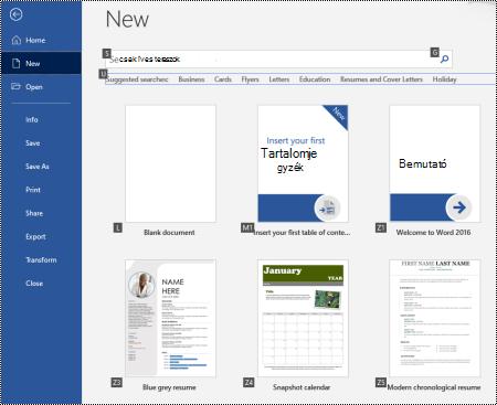 Új lap a Windows Word fájl menüjében