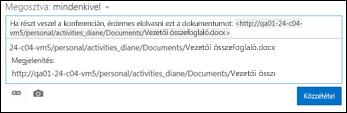 Dokumentum hírcsatorna-bejegyzésbe beillesztett URL-címe