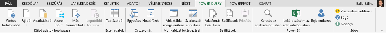 A Power Query menüszalagja