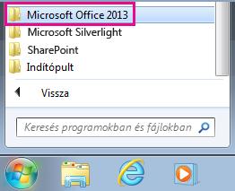 Office 2013 csoport a Windows 7 Minden program mappájában