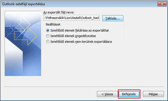 Click Finish to export the data.