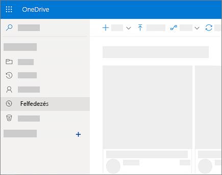 Képernyőkép a OneDrive Vállalati verzió Felfedezés nézetéről