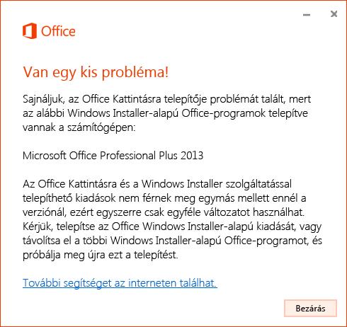 Hiba az Office Kattintásra termék MSI-telepítővel való telepítésekor