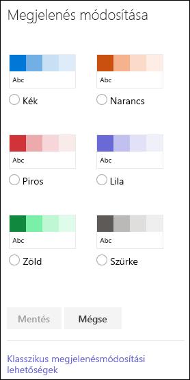 SharePoint színbeállításai, a webhely megjelenésére szolgálnak.