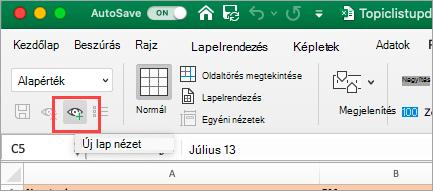 Megjeleníti az Excel-munkafüzetet