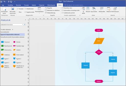 A Visio áttekintő képe, egy egyszerű folyamatábra diagram látható rajta.